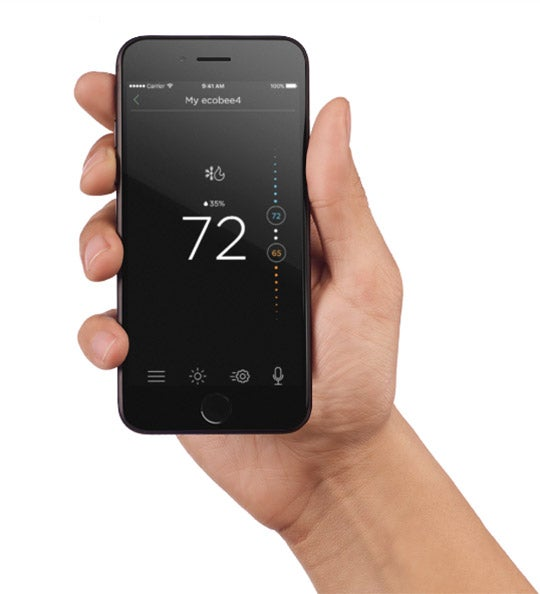 ecobee smart thermostat app to control thermostat and monitor energy reports