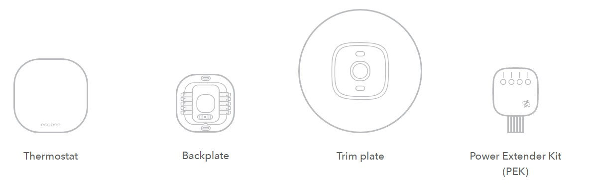 What's in ecobee3 Lite thermostat packaging