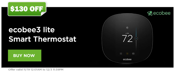 $130 Off the ecobee3 lite Smart Thermostat