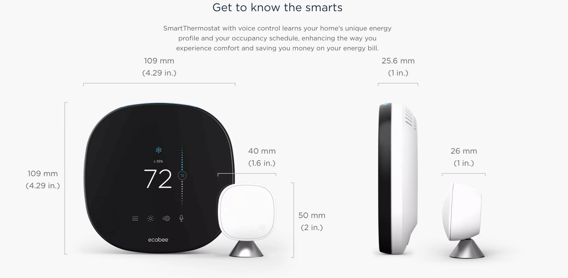 ecobee SmartThermostat Sizing Specs