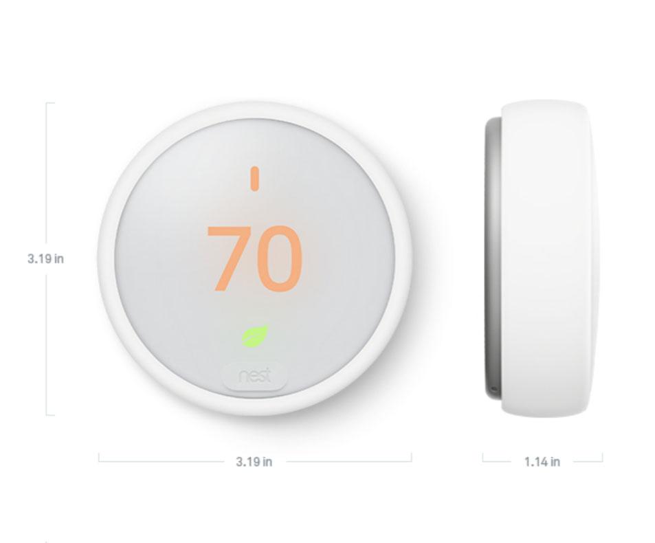 Dimensions of Google Nest Thermostat E
