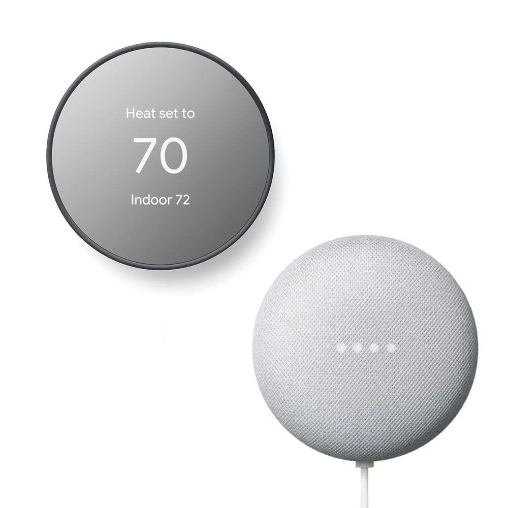 Google Nest Thermostat Charcoal with Free Google Home Mini