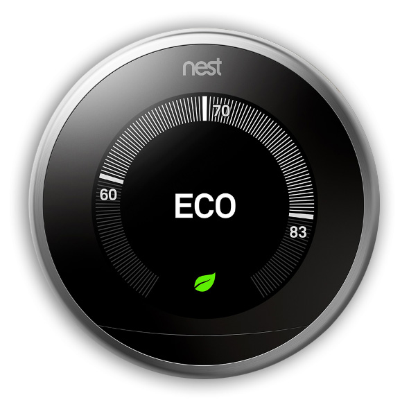 Google Nest Learning thermostat with enabled away-aware feature turns itself down to save energy when you are away